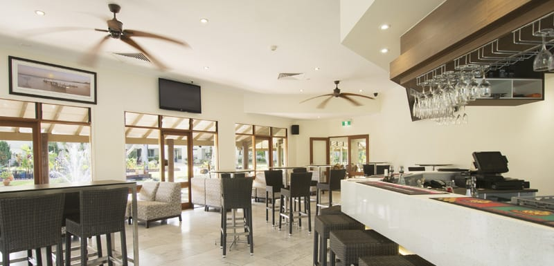 interior of popular air conditioned Reflections Restaurant and Bar with TV and Foxtel in Caloundra on Sunshine Coast, Queensland, Australia