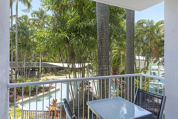 Oaks Resort Port Douglas balcony with swimming pool views