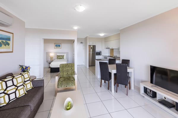 air conditioned one bedroom family apartment with Wi-Fi and television with Foxtel at Oaks Seaforth Resort hotel, Sunshine Coast