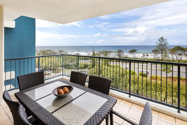 Sunshine Coast hotels with balcony and beautiful view of ocean in 2 bedroom holiday apartment at Oaks Seaforth Resort hotel, Sunshine Coast
