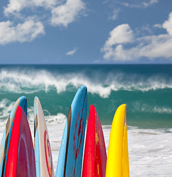 six colourful surfboards on Mooloolaba beach on Sunshine Coast with ocean waves crashing in background