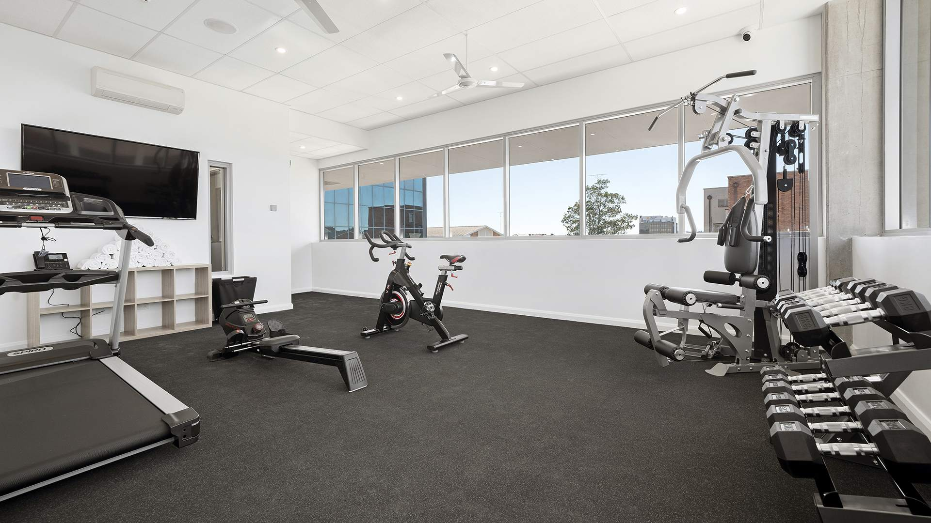 View of gym equipment and facilities within Oaks Toowoomba Hotel