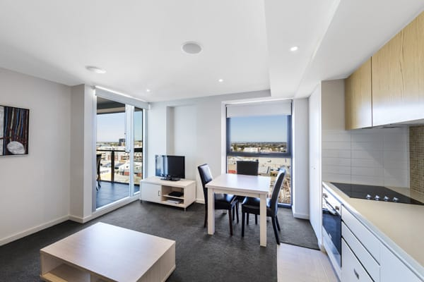 large, air conditioned living room in 2 bedroom hotel apartment near Adelaide Zoo in South Australia
