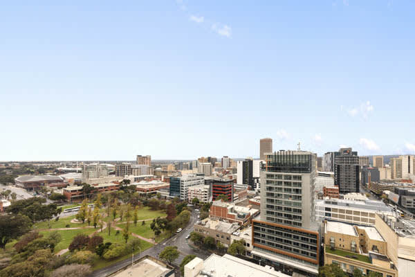 aerial view of Adelaide city from private balcony of 2 bedroom sky view apartment at iStay Precinct hotel