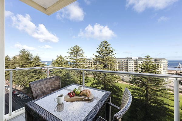Glenelg accommodation with balcony and views of ocean and Glenelg beach at Oaks Liberty Towers hotel