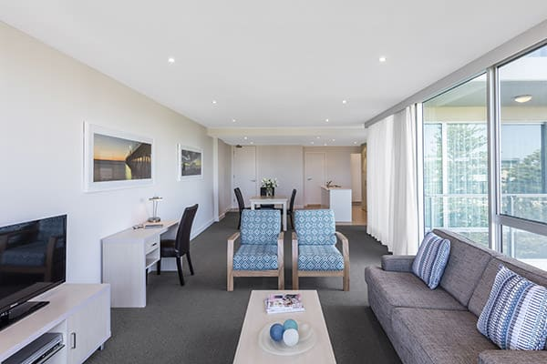 big living room in large 2 bedroom apartment close to Glenelg beach at Oaks Liberty Towers hotel, South Australia