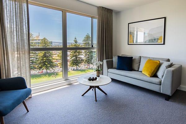 Oaks Glenelg Plaza Pier Suites 2 Bedroom Premier Park view Living