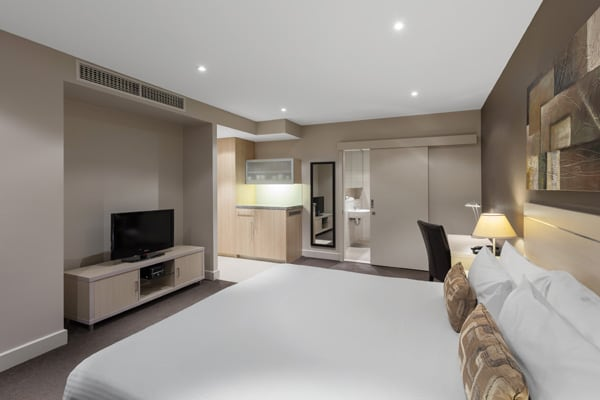 Hotel studio apartment accommodation Glenelg with Foxtel on TV and air conditioning at Oaks Plaza Pier hotel in South Australia