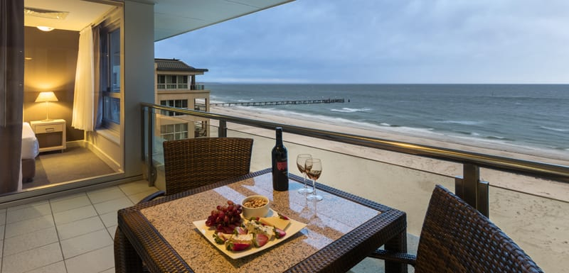 Best hotels Glenelg with balcony in 2 bedroom apartment with views of ocean at Oaks Plaza Pier in Glenelg, South Australia