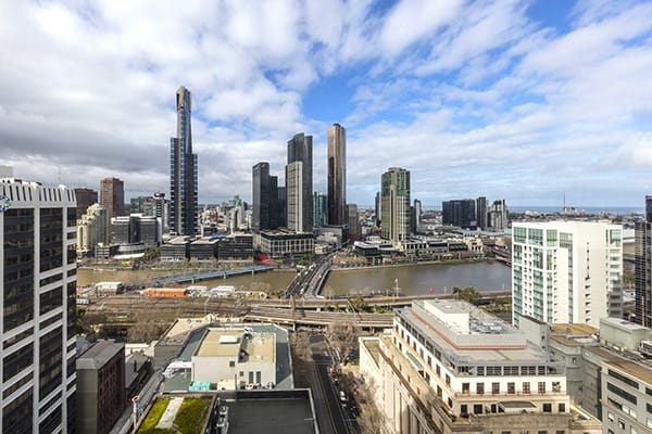 beautiful, panoramic view of Melbourne CBD in the morning from private balcony of 1 Bedroom Apartment at Oaks on Market hotel in Melbourne city, Victoria, Australia