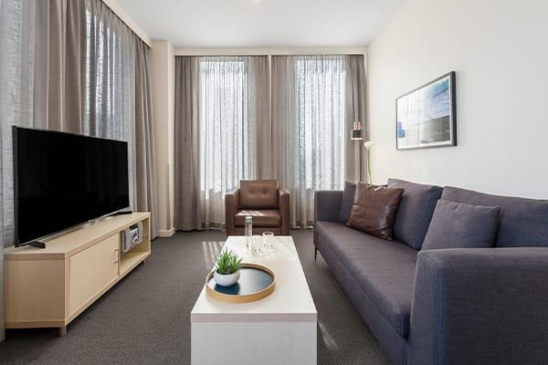 Oaks Melbourne on Market Hotel 2 Bedroom Living Room