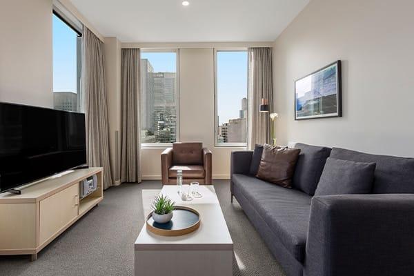 Oaks Melbourne on Market Hotel 2 Bedroom View Living