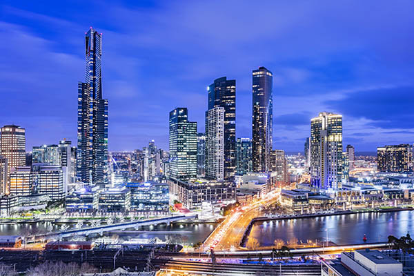 aerial view of Melbourne city at night from private balcony of Studio Apartment at Oaks on Market hotel in Melbourne city, Victoria, Australia