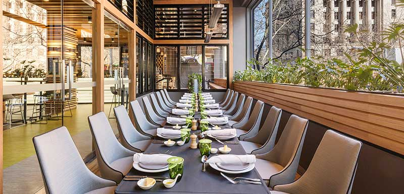 Modern decor Executive Function long table with more than twenty seats at Oaks on Market hotel in Melbourne city, Victoria, Australia
