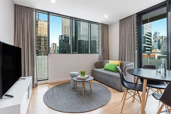 Oaks Melbourne Southbank Suites 2 Bedroom Living