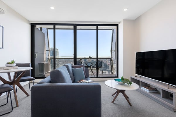 Oaks Melbourne on William Suites 1 Bedroom View Living