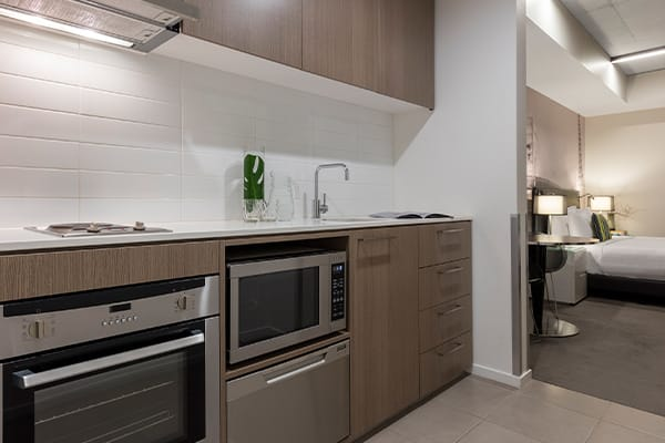 Oaks Melbourne on William Suites Studio View Kitchen