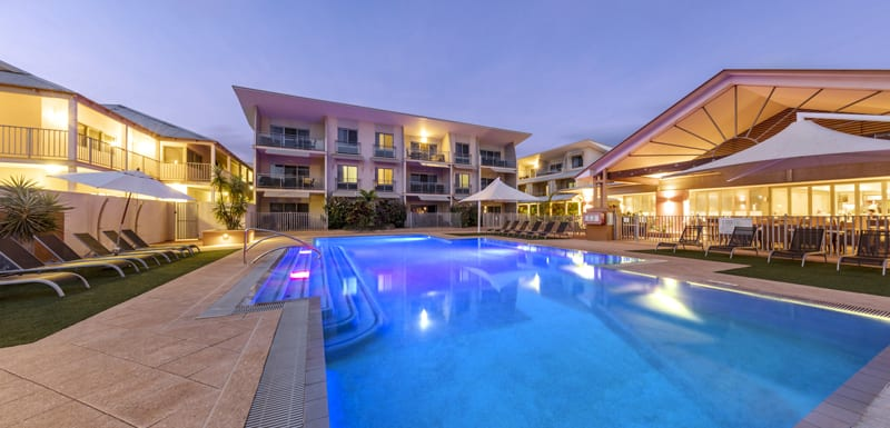 large private outdoor swimming pool for guests staying at Oaks Broome hotel at sunset in Western Australia