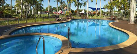 large swimming pool at oaks oasis resort hotel on Sunshine Coast, Australia