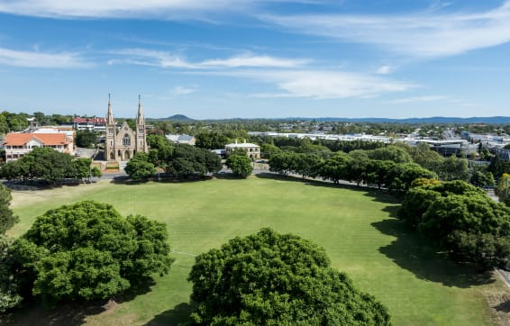 aerial view of park and church in Ipswich from private balcony of Oaks Aspire Ipswich hotels holiday apartments in Queensland, Australia