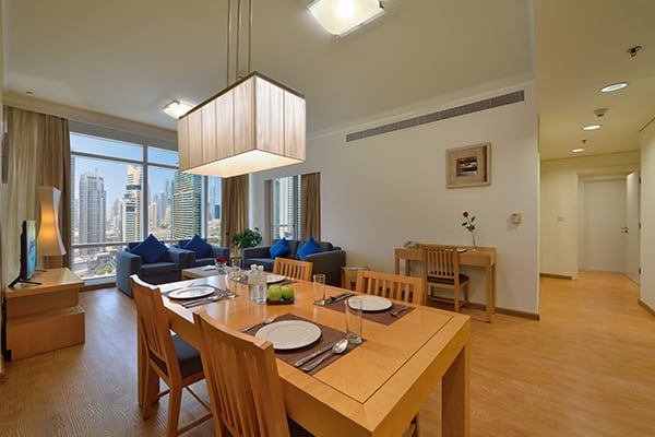 Living Rom in Deluxe Apartment at Oaks Liwa Heights