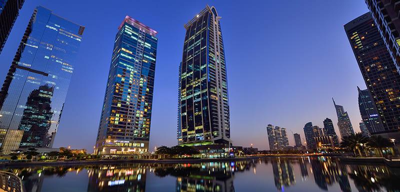 beautiful view of Dubai during sunrise from Oaks Liwa Heights hotel in the United Arab Emirates